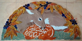 doe fawn half round ceramic tile mosaic 72