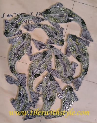 gray black yellow koi fish ceramic sliced pebble shower floor handmade mosaic tiles