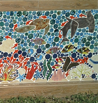 great barrier reef mosaic shaped ceramic tile wall 5