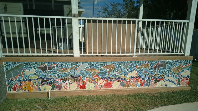 great barrier reef mosaic shaped ceramic tile wall