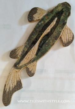 largemouth bass green fish slice pebble shower floor mosaic tiles