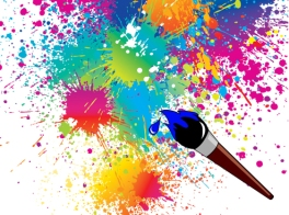 paint brush splashing paint