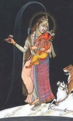 ardanarishvara with child baby lord ganesha halo