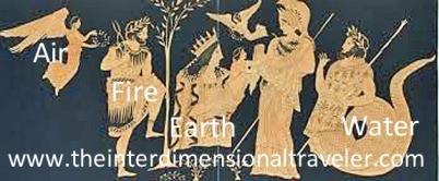 four elements of gaia handing erichthonius to athena in the garden of eden.jpg