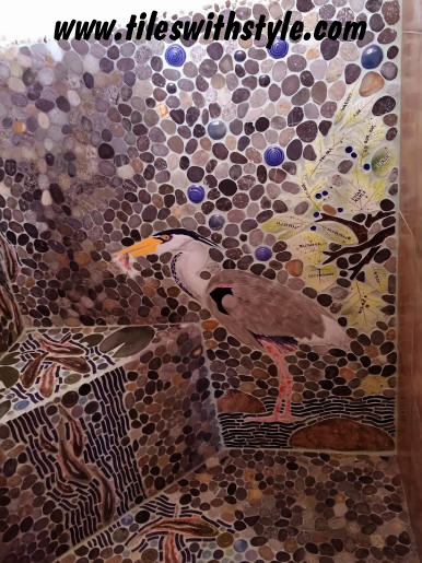 heron bird sliced pebble fish shower floor walls