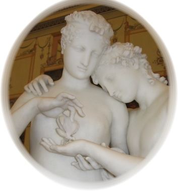 psyche placing a butterfly on cupids hand