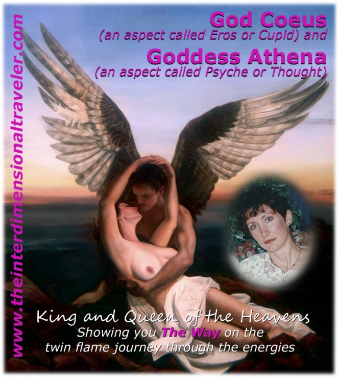 goddess athena, god coeus, eros, cupid, psyche twin flames